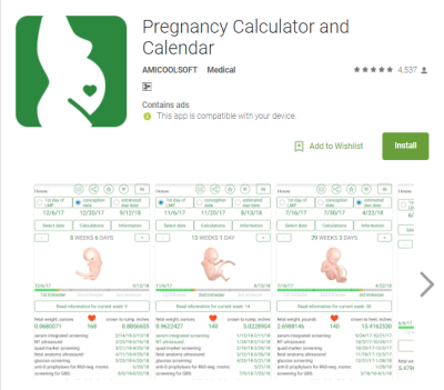 1) Pregnancy Calculator and Calendar