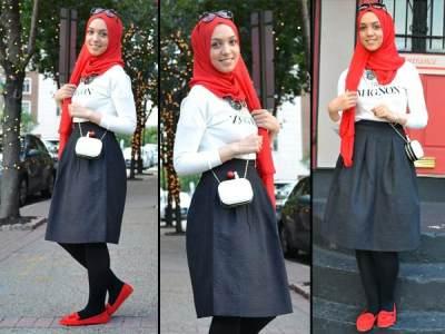 Hijab Merah dan Rok Hitam