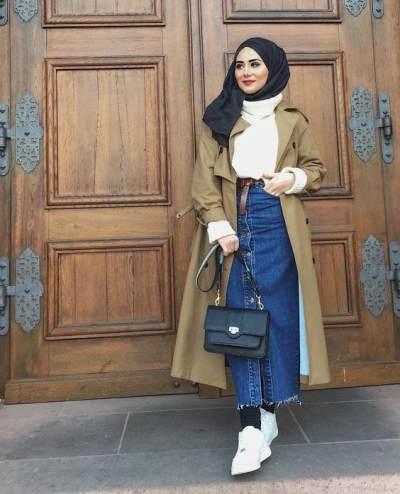 Tetap Tampil Modis dengan Style Hijab Modern Menggunakan Padu Padan Outfit Denim Skirt
