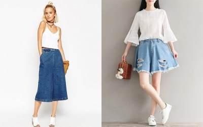 3. Celana Kulot Jeans Pendek