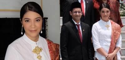 Anggun dengan Kebaya & Anting 'Tanah Air', Istri Nadiem Curi Perhatian di Pelantikan Menteri