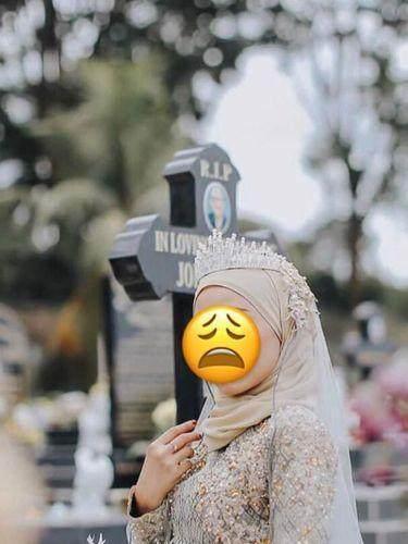 Viral Pemotretan Gaun Pengantin Hijab di Kuburan, Pemilik Akun Ini Minta Maaf