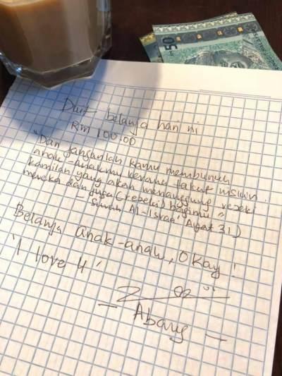 Bikin Meleleh, Suami Sisipkan Surat Romantis Di Jatah Uang Belanja Istri