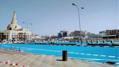 Hindari Efek Panas dari Suhu Ekstrem, Jalan di Qatar Dicat Warna biru