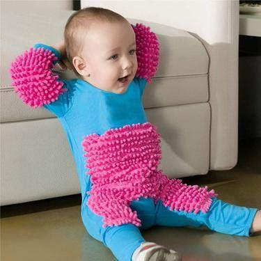Bisa Sekaligus Bersihkan Lantai, Baju Bayi Lengkap dengan Pel Ini Viral