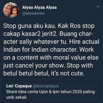 Dinilai Tak Pantas, Netizen Minta Karakter Sally - 'Upin Ipin' Dihapuskan