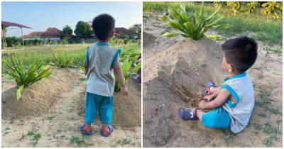 Kisah Pilu Bocah Kecil Memanggil Ibunya dan Bermain Pasir di Makam