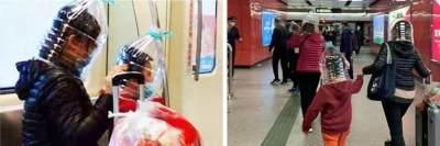 Tak Cukup Masker! Wanita Ini Bungkus Kepalanya dengan Botol Plastik Karena Takut Virus Corona